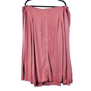 TORRID Rose Pink Button Front Midi Skirt 3X